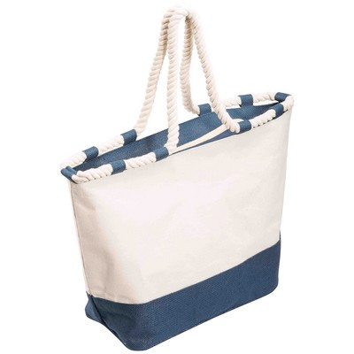 Picture of Zippered Canvas Tote Bag - Blue