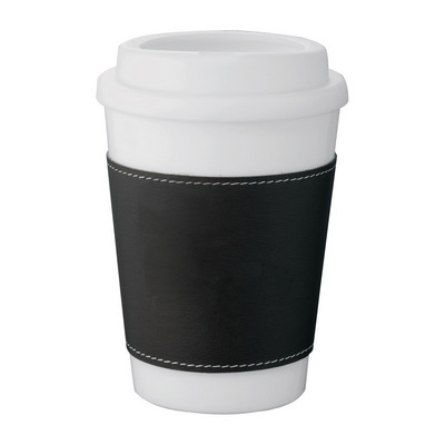 Picture of Double-Walled White Tumbler - Black Slee