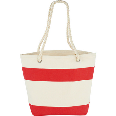 Picture of Capri Stripes Cotton Shopper Tote - Red
