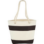 Capri Stripes Cotton Shopper Tote - blackCanvas Bag/Picnic & Cooler totes