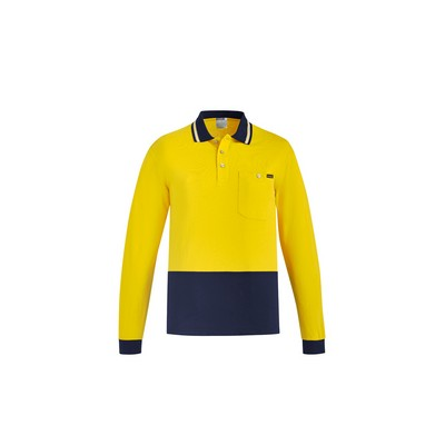 Picture of Mens Hi Vis Cotton L/S Polo