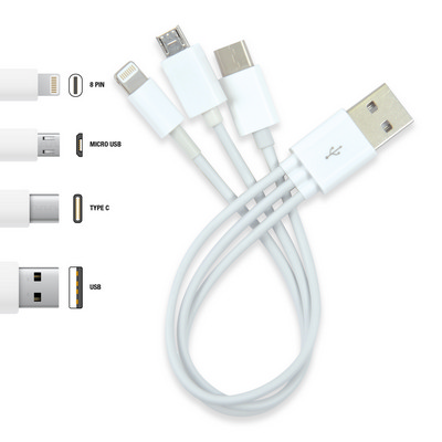 Picture of 3 in 1 Combo USB Cable - Micro, 8 Pin, T
