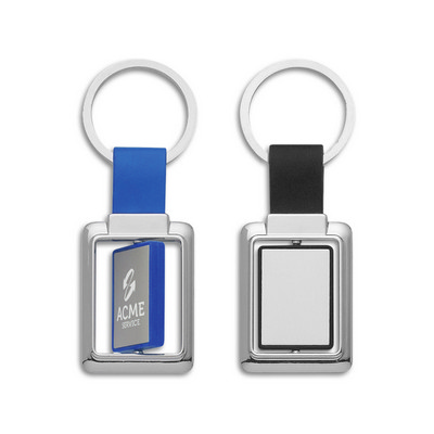 Picture of Rectangle Metal Spinner Key Ring