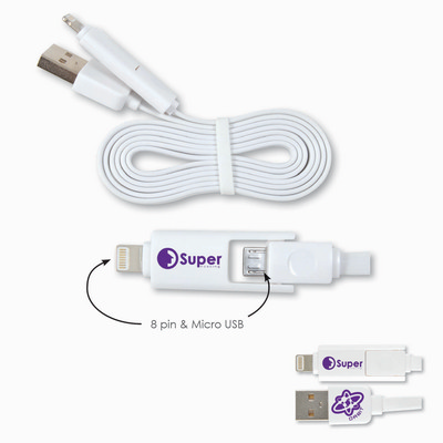 Picture of 2 in 1 Nifty USB Cable - Micro, 8 Pin