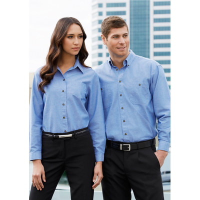 Picture of Ladies Wrinkle Free Chambray Long Sleeve Shirt